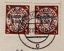 Briefmarke Danzig mit Aufdruck anno 1939