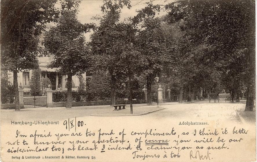 Hamburg Uhlenhorst Adolphstrasse gestempelt 10.10.1900
