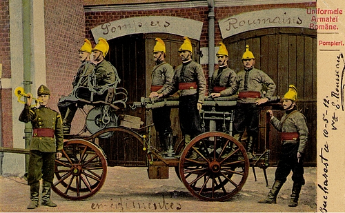 Übung einer Feuerwehr in Rumänien anno 1912