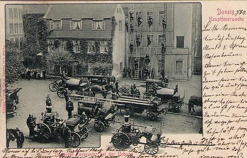 Übung der Feuerwehr auf einer Ansichtskarte aus Danzig anno 1901