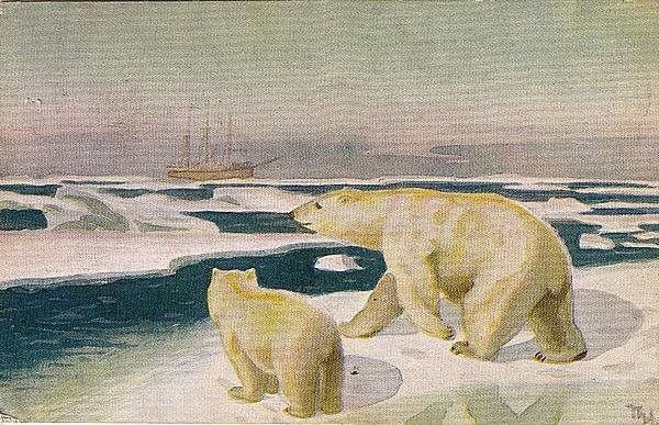 Polhavet Motiv Eisbär - signiert Th rechts unten