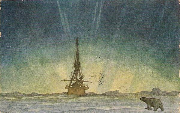 Polhavet Motiv Mitternachtssonne - signiert Th links unten