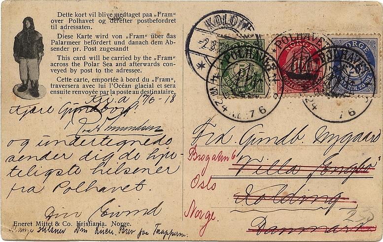 Ansichtskarte mit Ankunftsstempel 2.3.1926 in Kolding, Dänemark